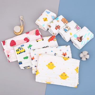 六层纯棉方巾高密全棉小毛巾婴幼儿童洗脸巾卡通纱布手巾喂奶巾