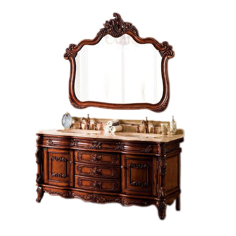 欧式橡木浴室柜组合实木洗手脸盆柜洗漱台双盆卫浴柜大理石洁具柜