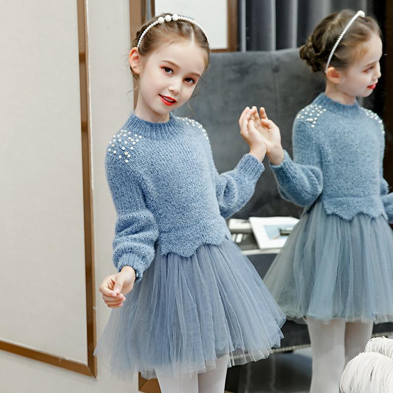 韩版针织公主纱裙女童毛衣连衣裙
