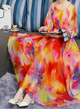 2021春夏新款雪纺碎花连衣裙女夏季大摆气质时尚大码宽松显瘦长裙