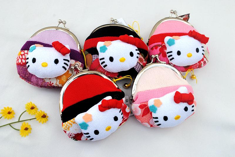 日本招喜屋和風hello kitty零錢包凱蒂貓女鑰匙包正品可愛硬幣包