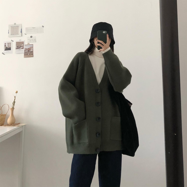 风上衣女柔软厚实毛衣开衫女宽松百搭针织外套上衣 BF 领 V 秋冬 2019