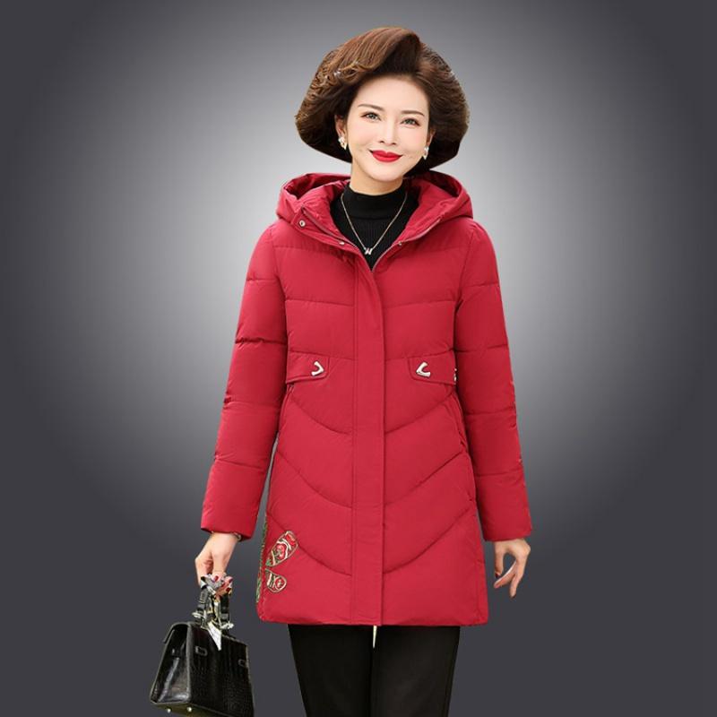 2020秋冬季新款棉衣40-45岁中年妈妈毛绒领中长款连帽棉外套