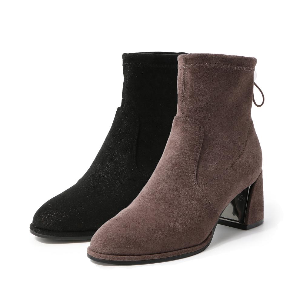 U4R2DDD9 绒里 百丽冬商场同款弹力绒布女粗高跟靴短靴 BELLE