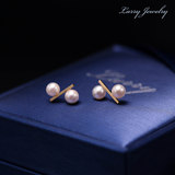 Larry Laurie new natural pearl earrings 18K gold pearl earrings Japanese Akoya seawater pearl earrings
