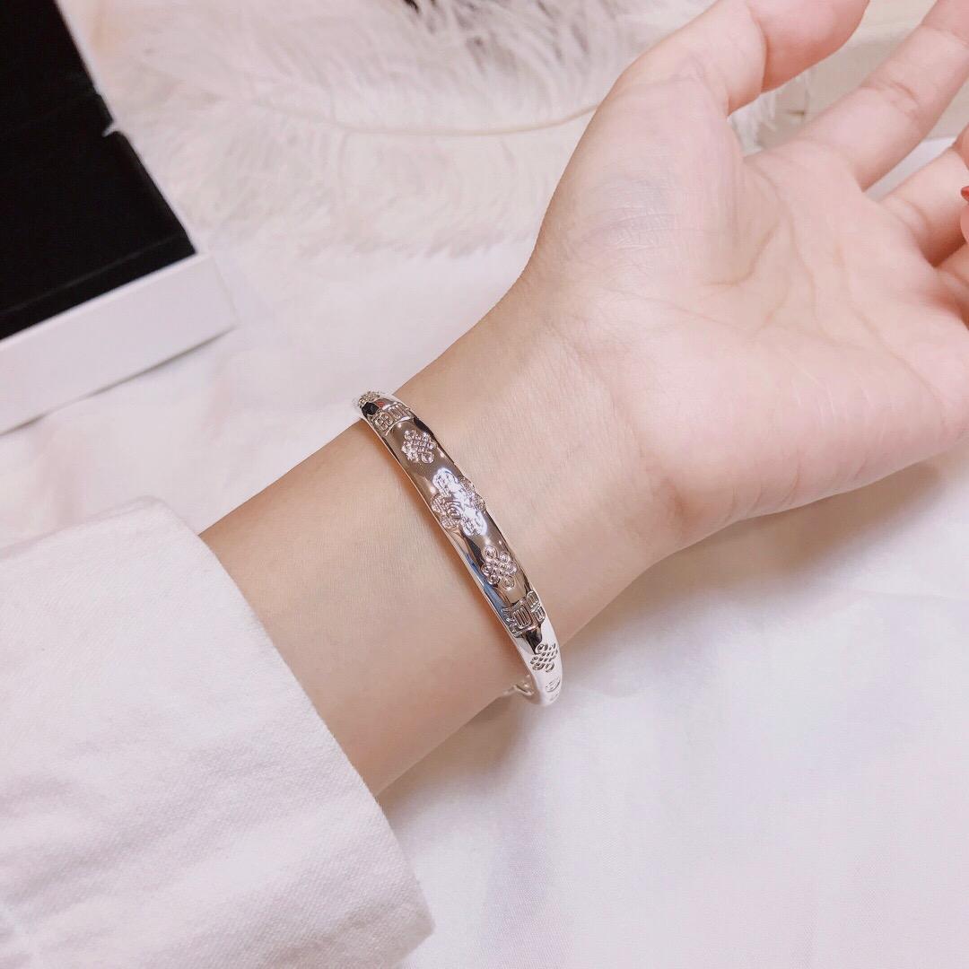 香港正生纯银 富贵福妈妈手镯时尚推拉镯子送长辈亲人母亲节礼  s999