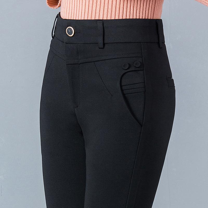秋冬季中老年人加绒加厚妈妈裤子女直筒高腰弹力休闲打底外穿长裤