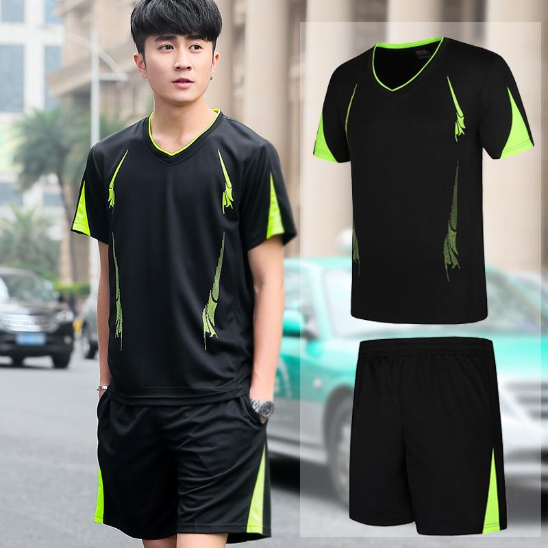 夏季速干透气运动套装男跑步运动服装短袖五分短裤休闲健身两件套