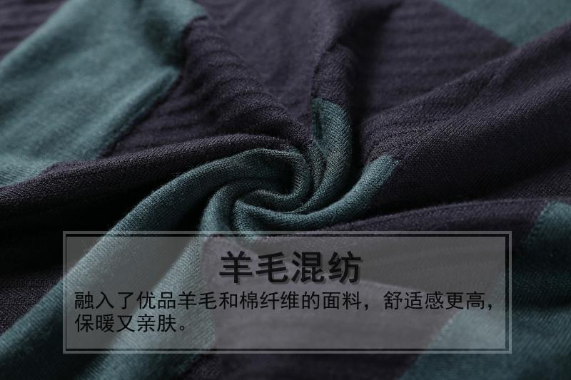 商场款同步款2018秋冬新品男士经典几何BV格子针织衫圆领羊毛衫