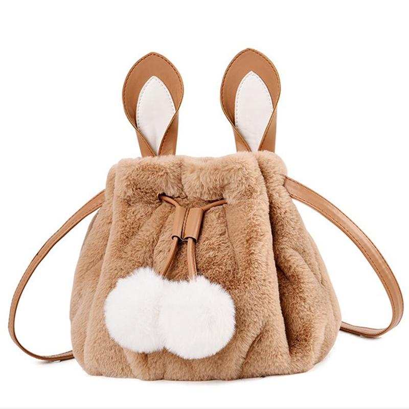 包邮兔子兔耳尾巴毛绒包包日系LOLITA软妹可爱小挎包斜挎包双肩包