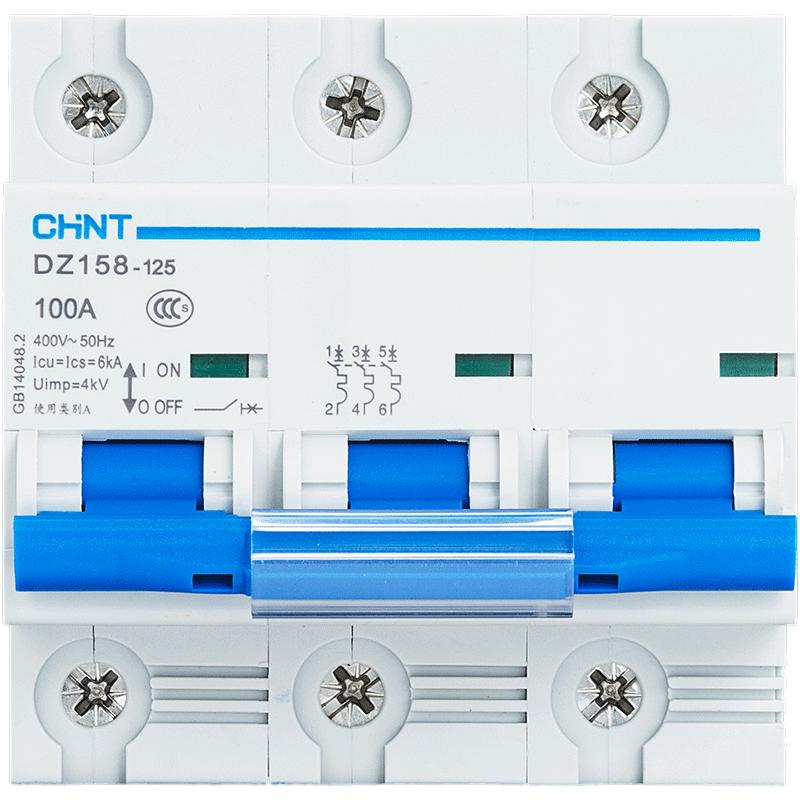 正泰 塑壳断路器DZ158 3P 100A 正泰空气开关