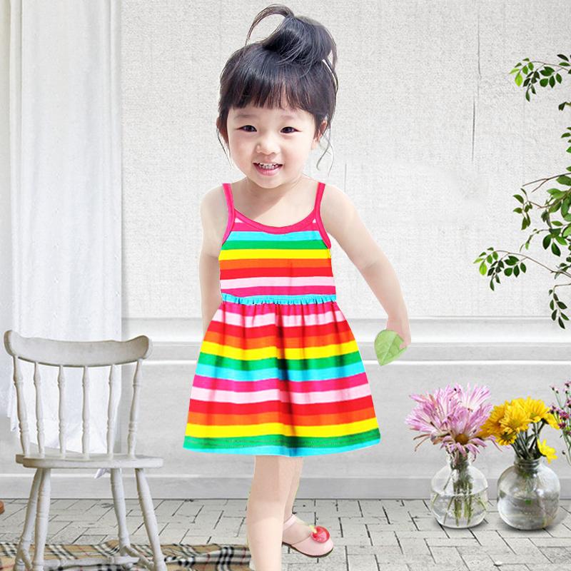 2019新款婴儿夏装小女孩衣服女童宝宝吊带连衣裙洋气儿童公主裙子