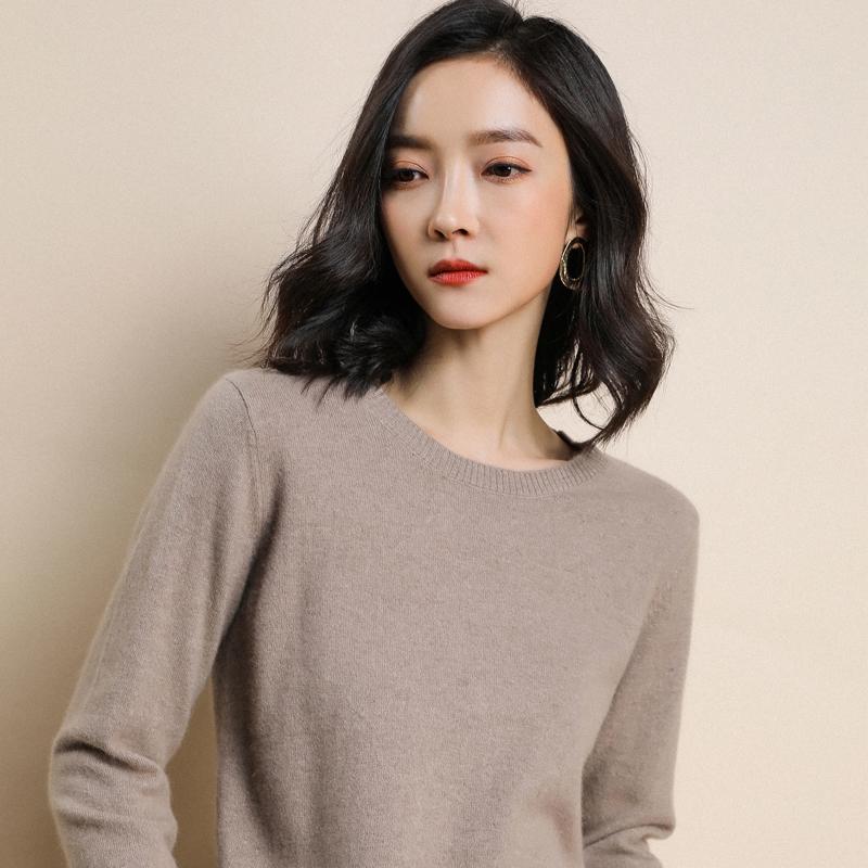 【品牌清仓】新款羊绒圆领女套头宽松短薄款外穿打底针织羊毛衣