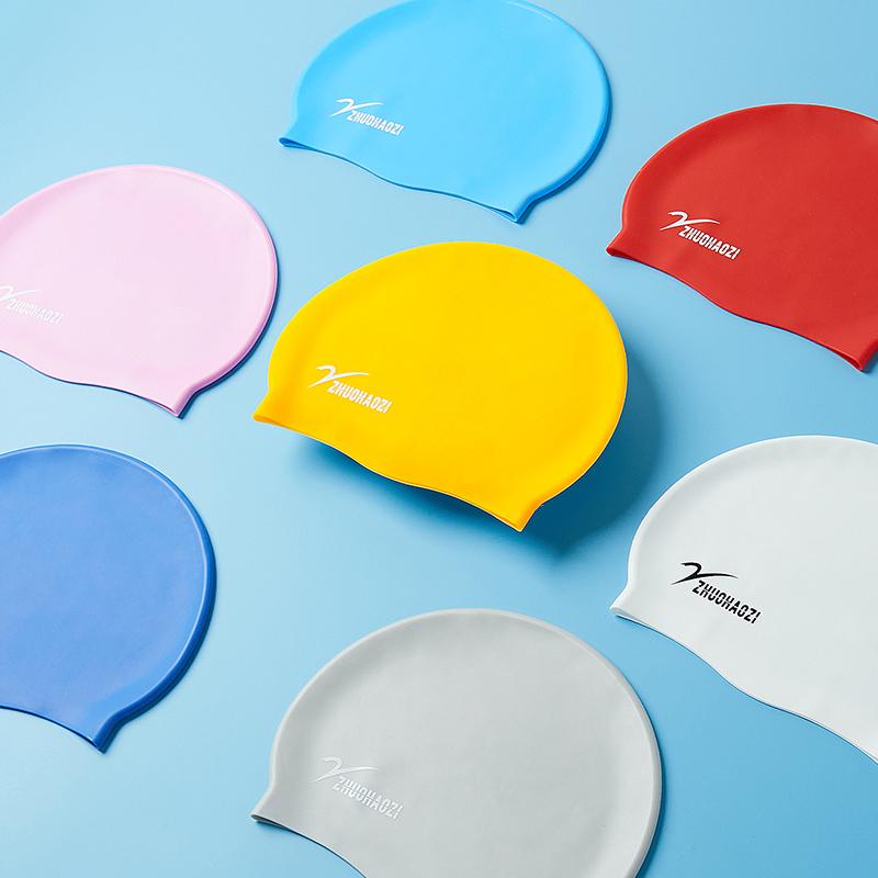泳帽男2019新款硅胶防水护耳时尚潮流男士游泳帽长发大号印花泳帽