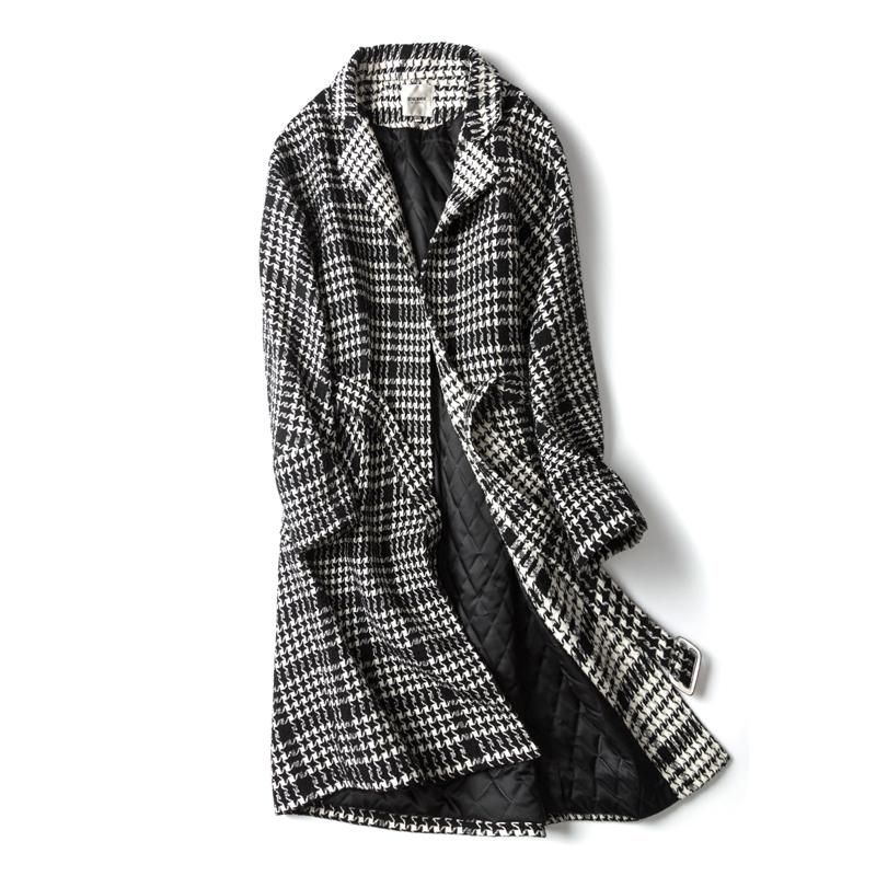 千鸟格毛呢外套中长款韩版学生秋冬季女2018新款流行格子呢子大衣