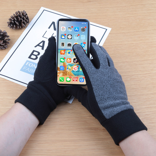 Autumn and winter men and women single-storey warm cold riding fleece shake fleece elastic outdoor sports touch screen gloves winter