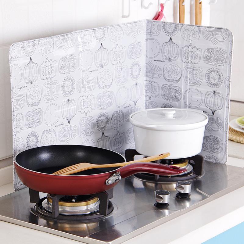 巧居家厨房煤气灶台铝箔挡油板创意印花挡板炒菜隔热防油