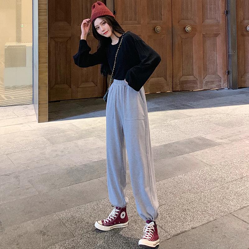 黑色运动裤女宽松束脚夏季薄款2021新款直筒显瘦百搭春秋休闲卫裤