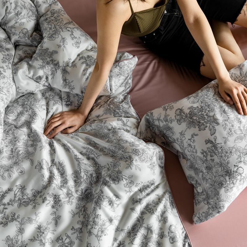 小清新印花夏季裸睡轻奢丝滑床上用品 支天丝莱赛尔四件套 60 进口