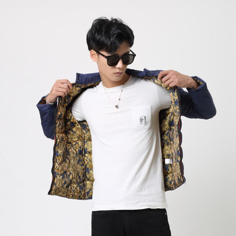 意邦伦2018新款冬季男士棉衣个性潮立领保暖短款外套青年休闲棉服