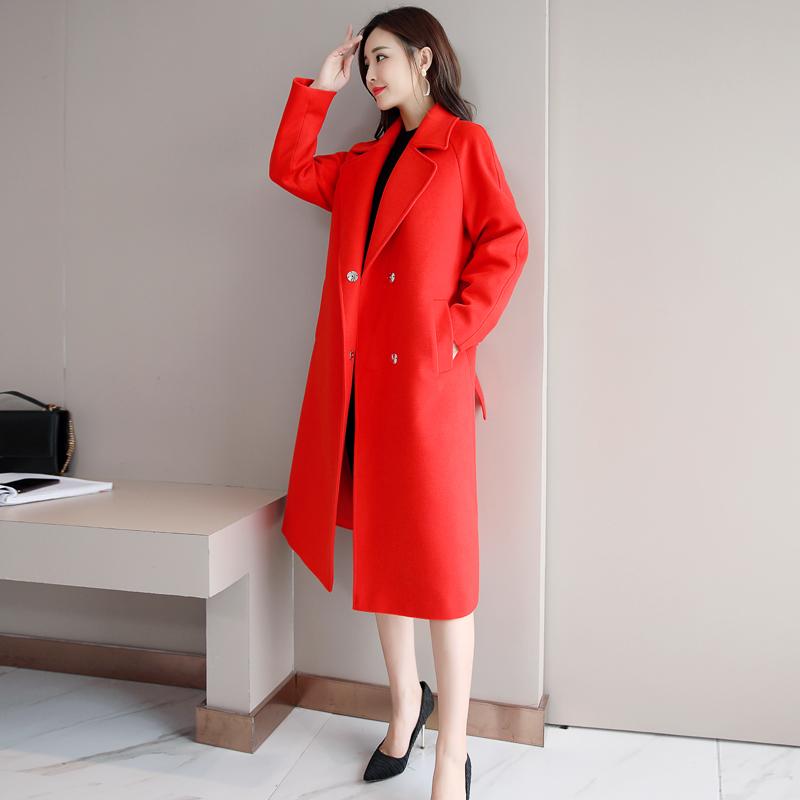 赫本风毛呢大衣女2018秋冬新款系带学生韩版纯色大码毛呢外套中长