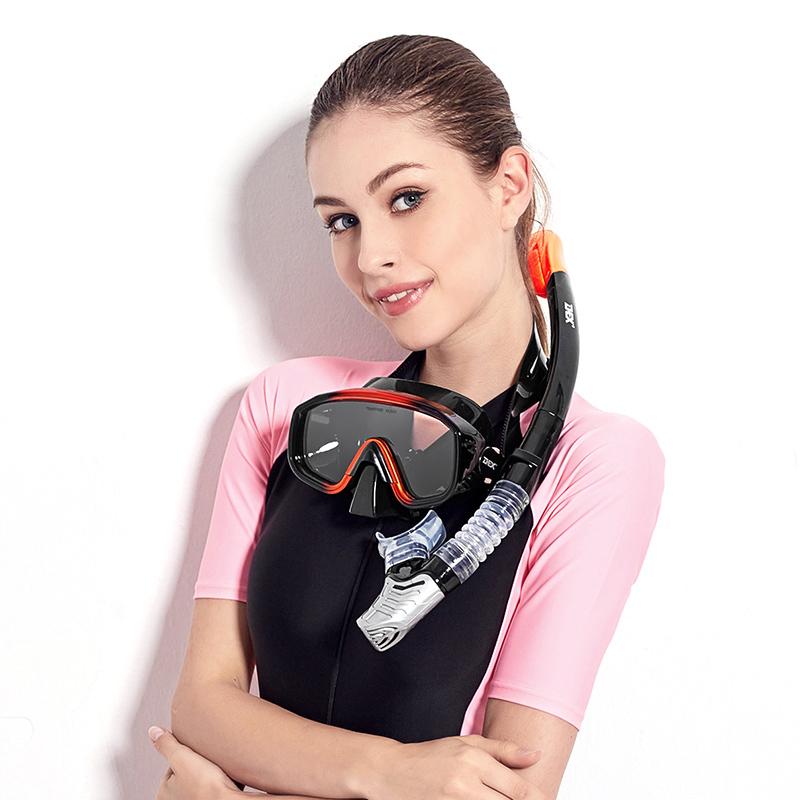 浮潜三宝浮潜装备潜水镜近视全干式呼吸管器面镜套装游泳面罩 dex