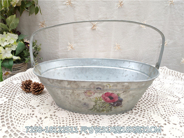 Orphans collection-American country style home garden gardening decoration tin flower pot flower bucket flower