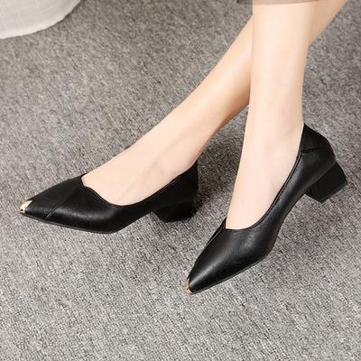 高跟鞋女2021粗跟浅口软底春秋单鞋不累脚职业上班工作鞋黑色女鞋