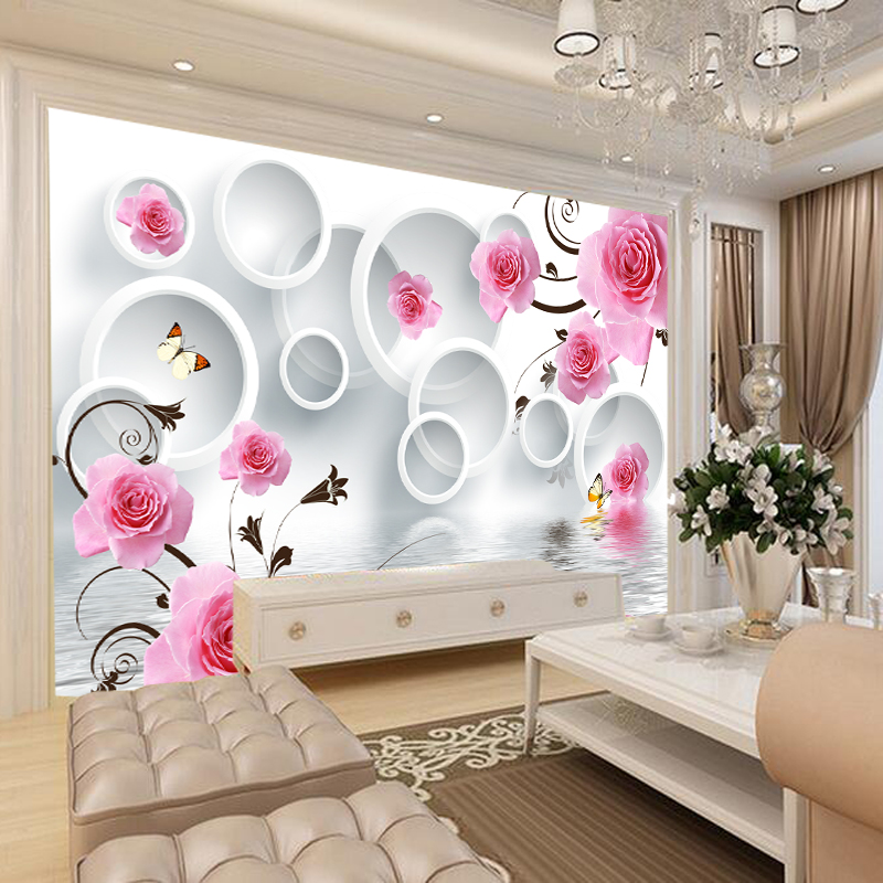 Buy 3d Stereoscopic Rose Flower Wallpaper Minimalist