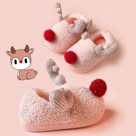 儿童棉拖鞋男童秋冬季婴幼儿室内家居鞋女宝宝1-2岁3包跟毛毛棉鞋
