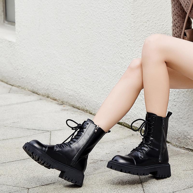 年春经典情侣工装靴帅气百搭厚底显高高帮靴子 2021 马丁靴女 Semir