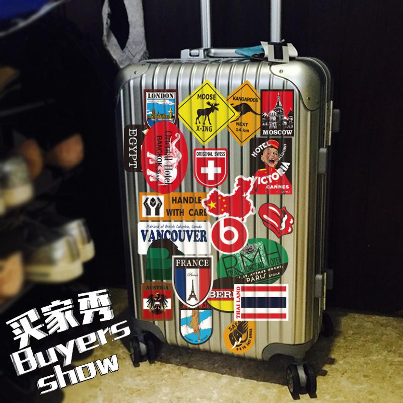 40张潮牌行李箱贴纸防水涂鸦旅行箱贴画笔记本电脑手机充电宝贴纸