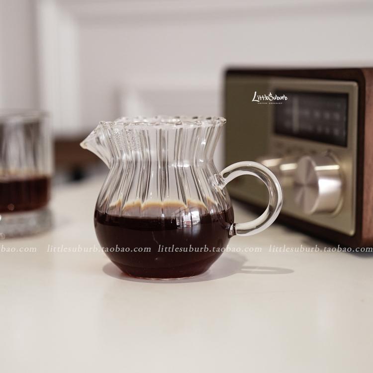 復古條紋耐高溫玻璃咖啡分享壺 花茶壺 單品咖啡壺(條紋在內部)
