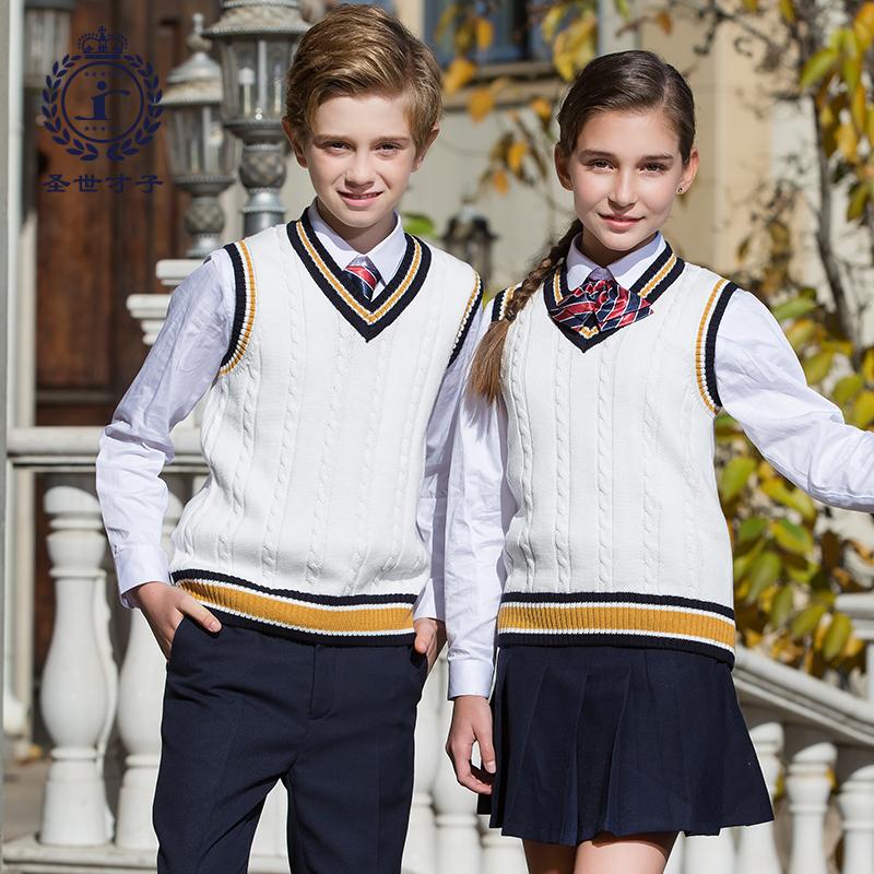 幼儿园园服春秋装中小学生校服英伦儿童毛衣背心针织男班服三件套