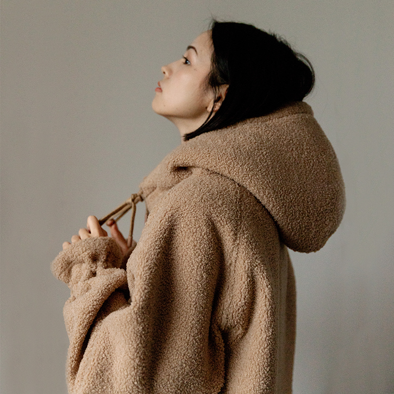 靴下物原创羊羔毛卫衣女套头宽松韩版甜美毛茸茸加厚加绒秋冬外套