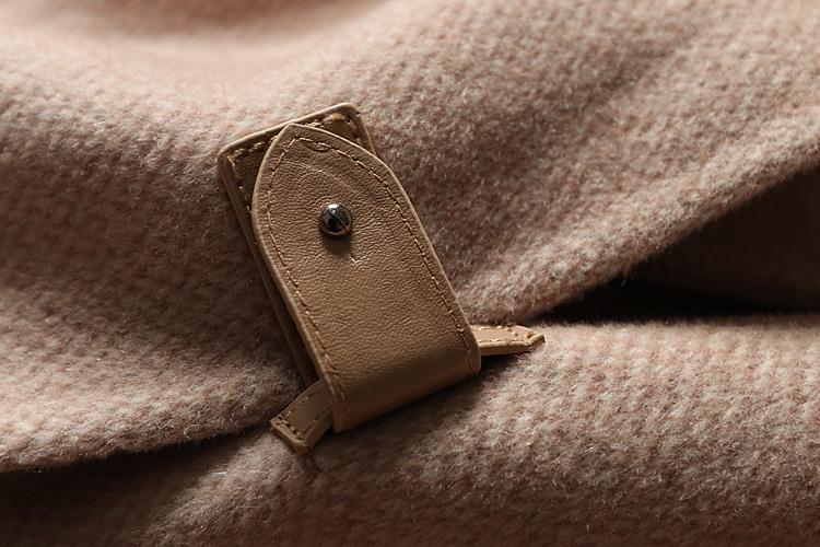 這款好!高階感~反季人字紋連帽長款手工雙面羊毛大衣女款D88309
