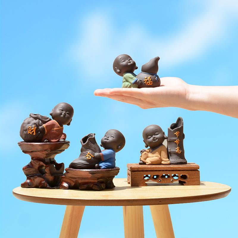 千逸小和尚花器禅意趣味茶宠精品茶艺摆件可爱水培花瓶办公装饰品