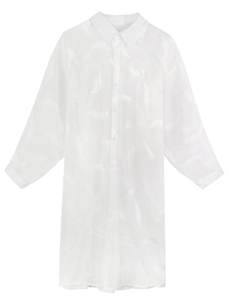 防晒衣服 新款长款超仙薄外套女夏季仙女长袖雪纺大码宽松开衫  2019
