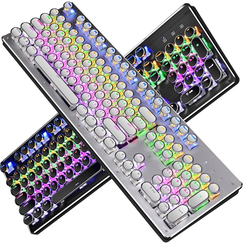 新盟复古蒸汽朋克机械键盘青轴金属电镀电脑吃鸡游戏圆帽插拔网红