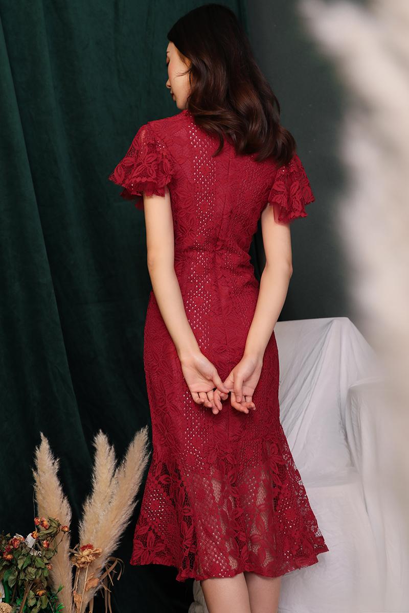 敬酒服旗袍酒红色夏季改良中国风新娘结婚回门小礼服女鱼尾连衣裙