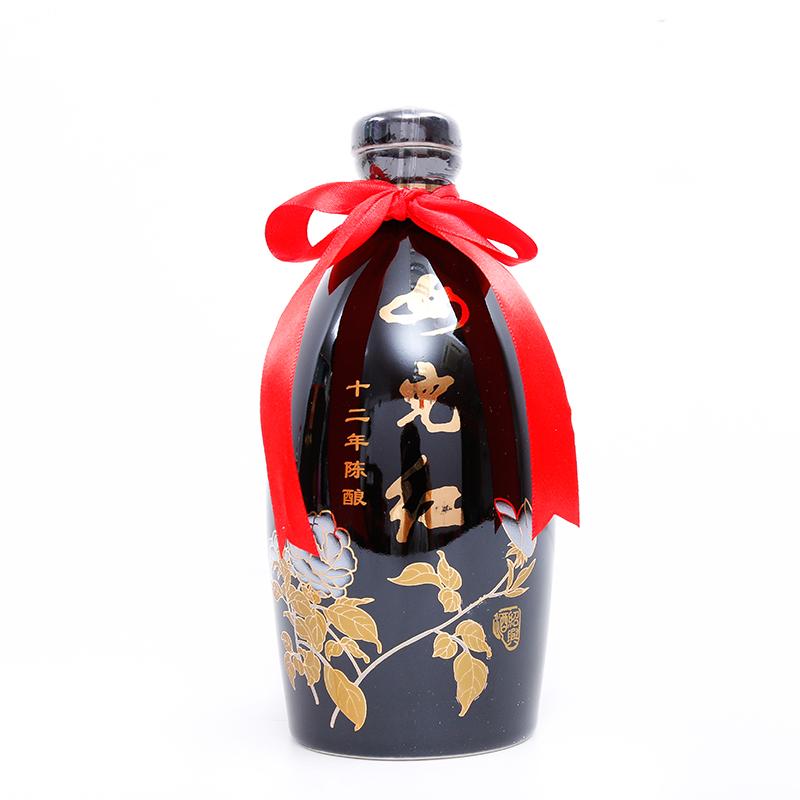黑牡丹瓶装手工糯米老酒半干型 十二年陈花雕 女儿红绍兴黄酒