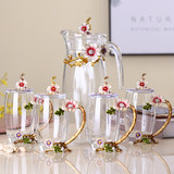 Creative suite upscale European-style enameled glass bottle glass child cups small fresh flower tea cup teapot