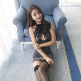 Sexy erotic lingerie small chest perspective dress uniform tight lace female secretary OL bag hip skirt nightclub passion suit