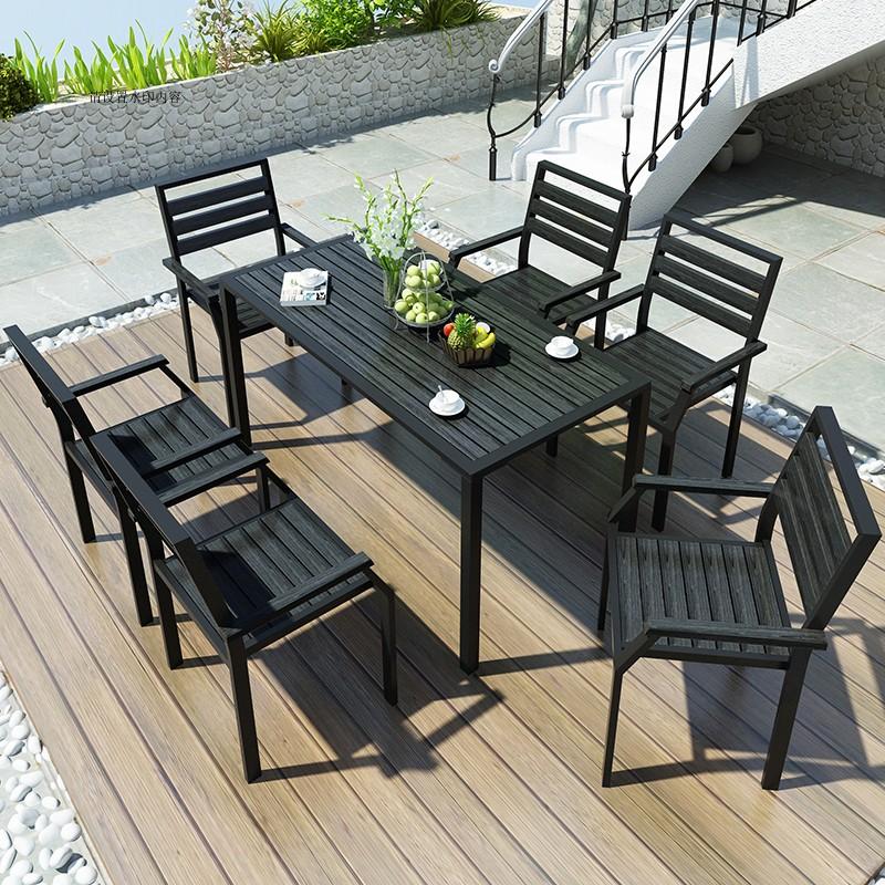 铁艺白色户外桌椅庭院室外阳台露天咖啡厅奶茶店铁艺塑木桌椅组合