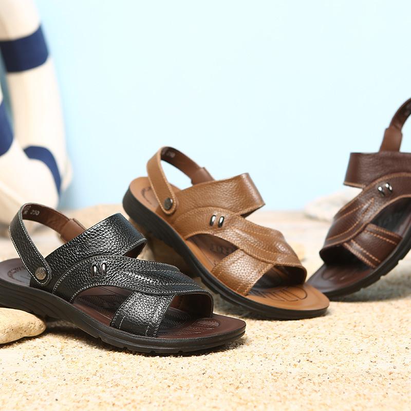 2018夏季新款男士沙滩鞋真皮爸爸鞋休闲凉鞋软皮软底鞋大码男鞋