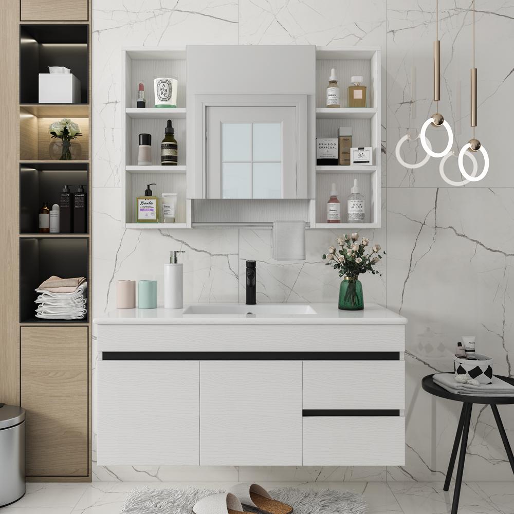實木浴室柜組合北歐衛生間洗漱臺洗臉洗手盆簡約掛墻式小戶型浴柜