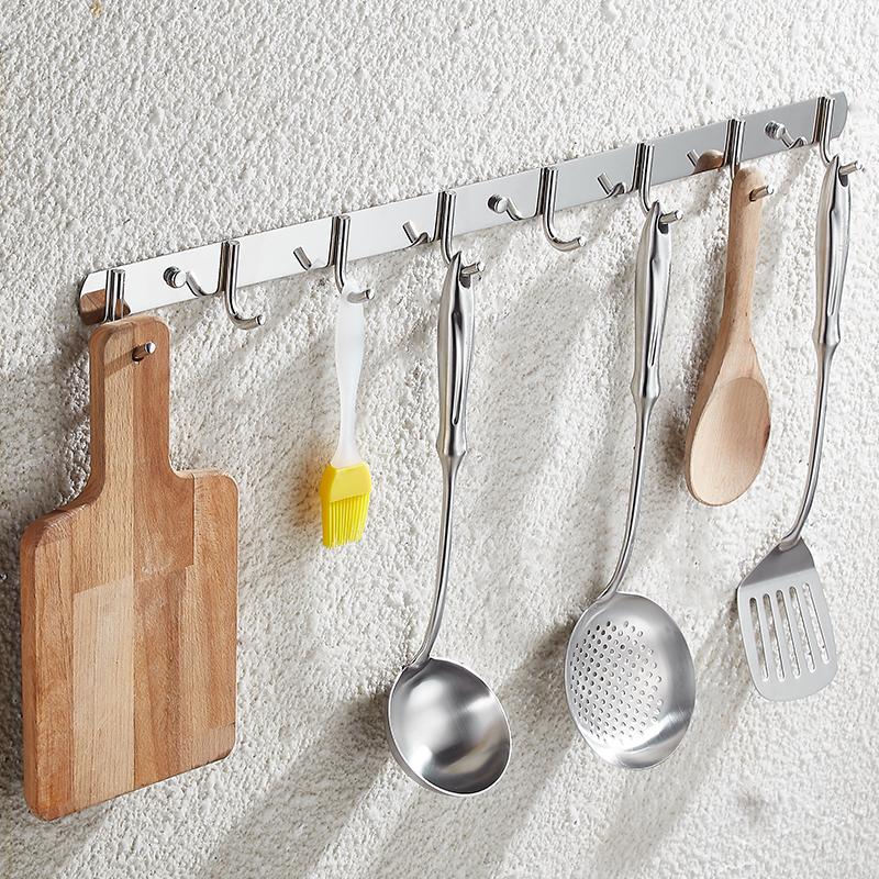 不銹鋼掛衣鉤廚房掛鉤壁掛衣帽鉤毛巾衣服掛鉤衣鞋柜浴室免釘排鉤