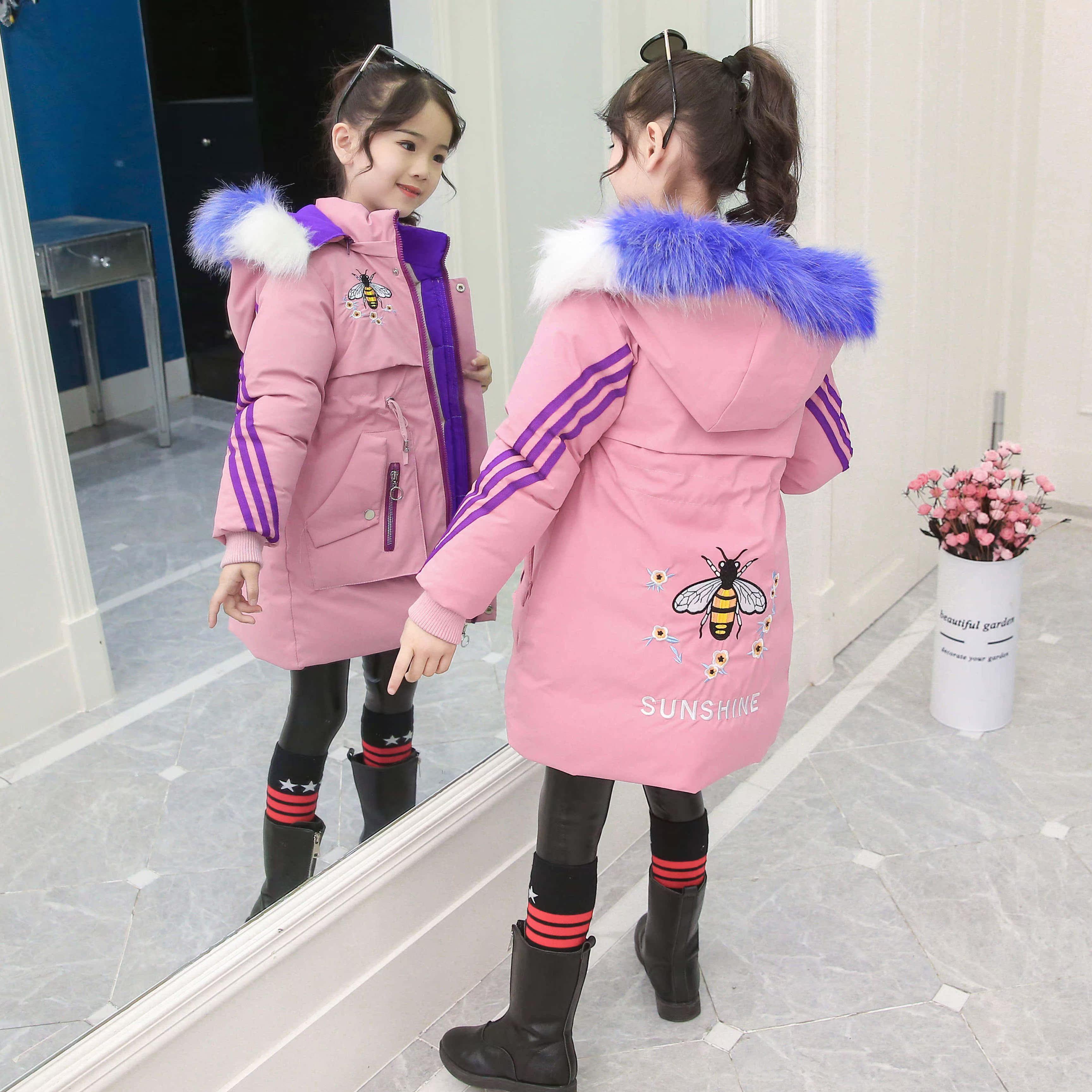 新款秋冬洋气时髦儿童棉服加绒加厚中小童棉衣韩版潮 2019 女童外套