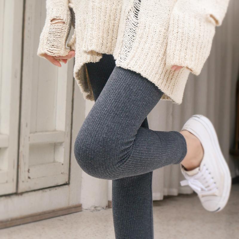 螺纹灰色打底裤女外穿春秋季薄款竖条纹加绒秋裤纯棉显瘦高腰九分主图