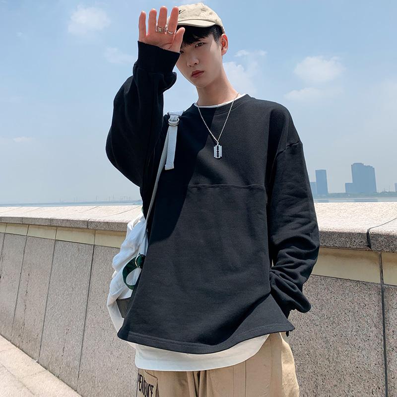 2019秋季新款男士长袖加绒卫衣韩版圆领学生假两件T恤宽松外套ins